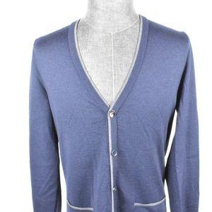 Hugo boss cardigan sweater blue button front XL